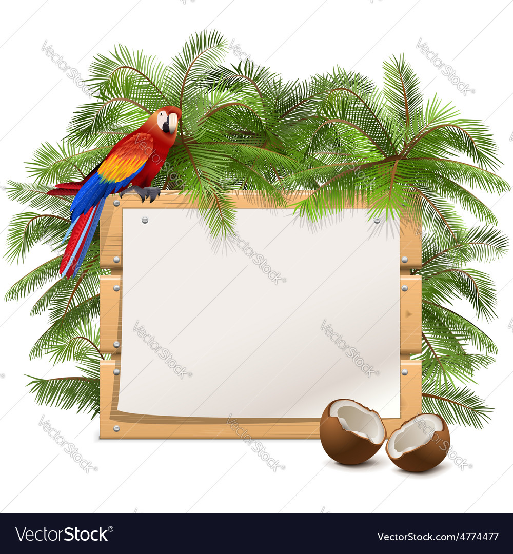 Wooden frame with palm tree vector   Price: 3 Credit (USD $3)