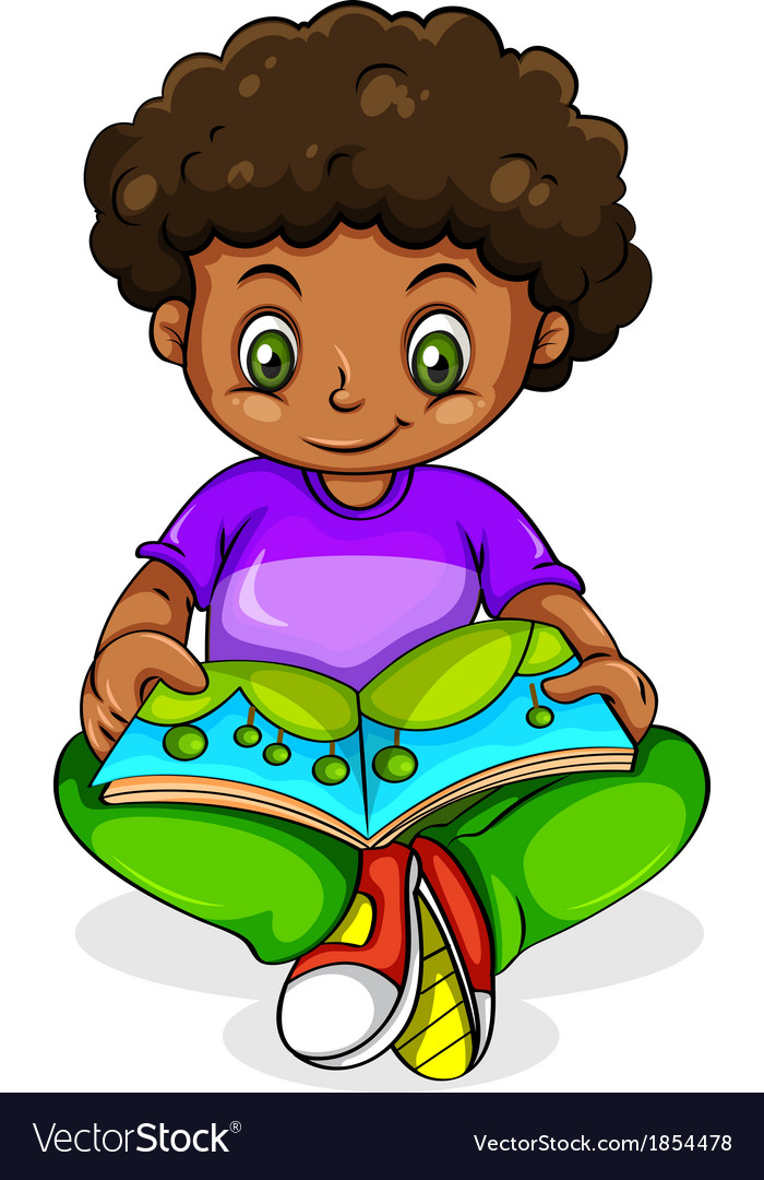 A young black girl reading vector | Price: 1 Credit (USD $1)
