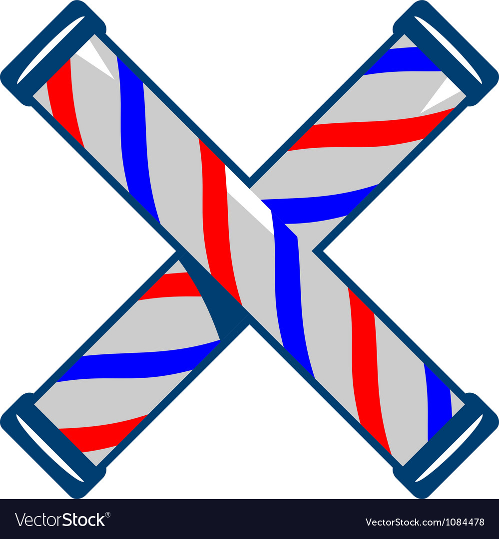 Barbers pole crossed retro vector | Price: 1 Credit (USD $1)