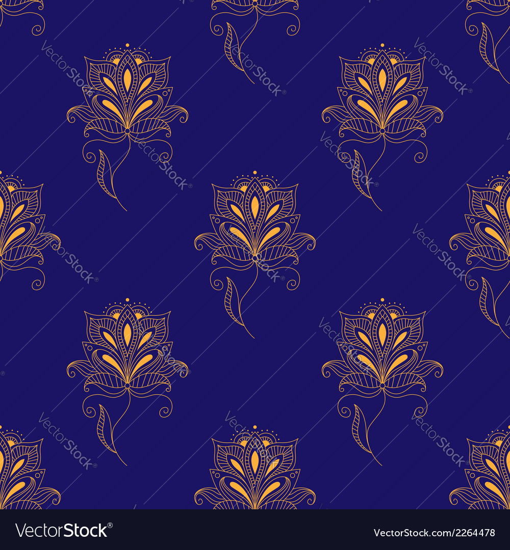 Blue and yellow paisley seamless pattern vector | Price: 1 Credit (USD $1)