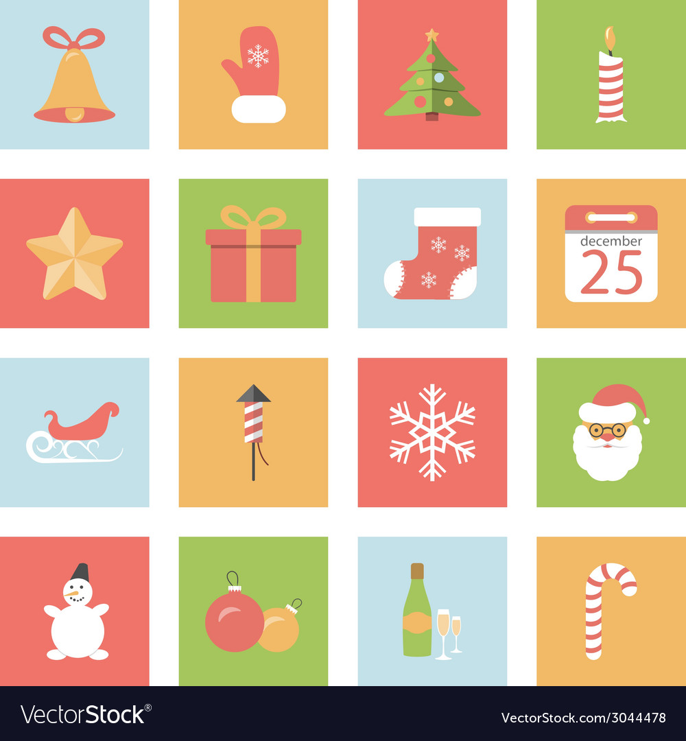 Christmas and new year flat icons set vector | Price: 1 Credit (USD $1)