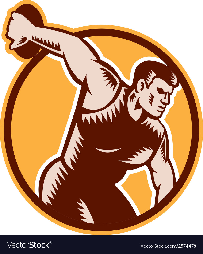 Discus thrower circle woodcut vector | Price: 1 Credit (USD $1)