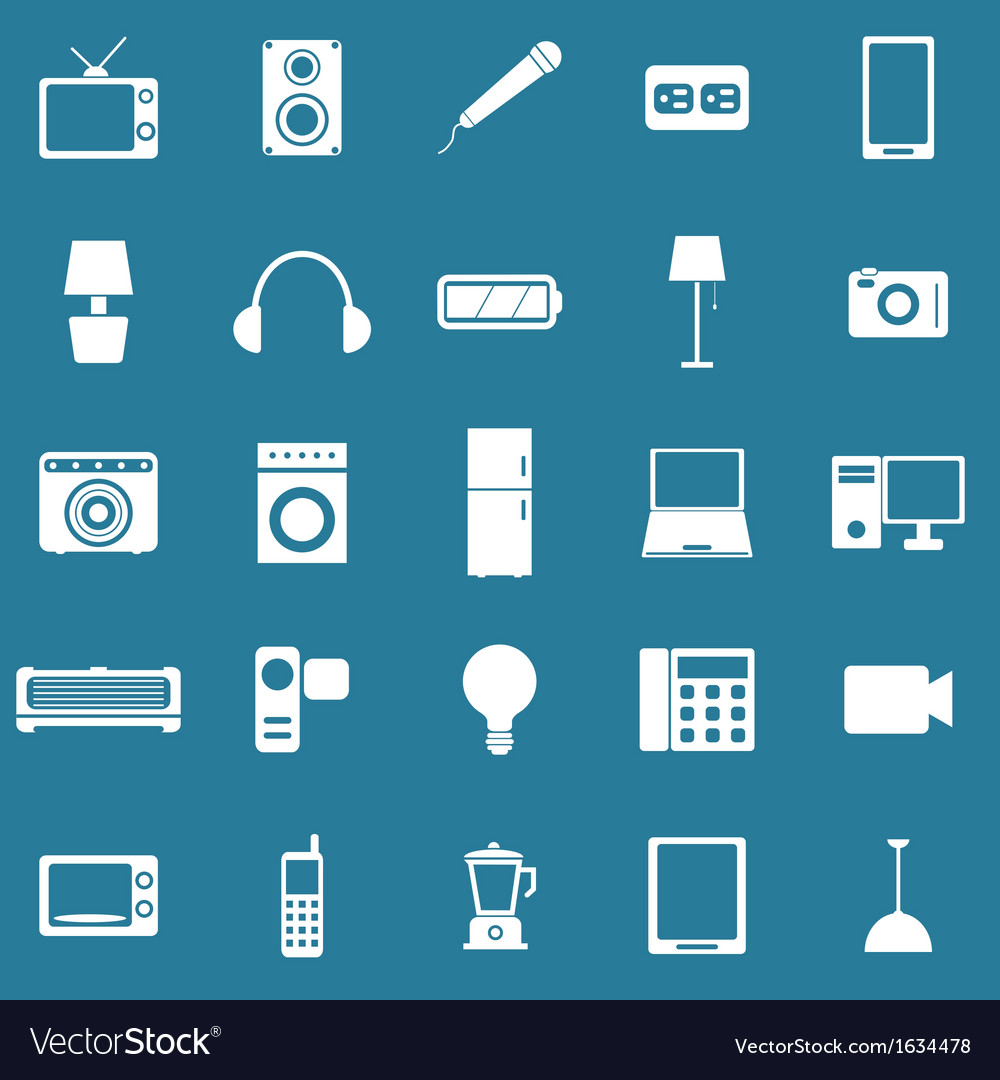 Electrical machine icons on blue background vector | Price: 1 Credit (USD $1)