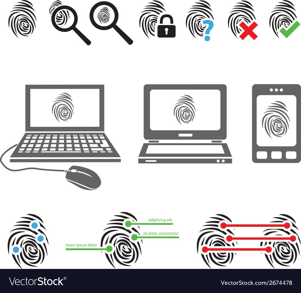 Fingerprint icons vector | Price: 1 Credit (USD $1)