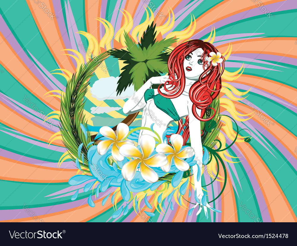 Island girl vector | Price: 3 Credit (USD $3)
