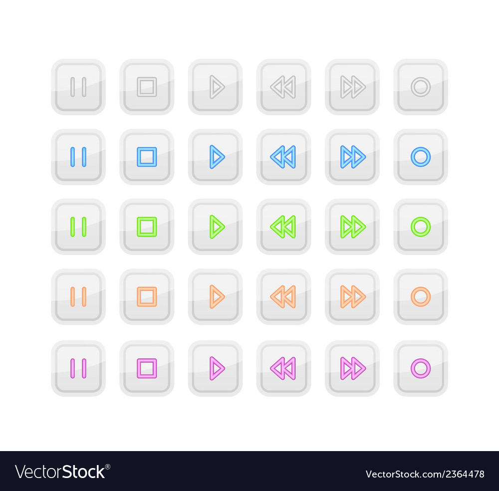 Light media stop and play buttons with neon icons vector | Price: 1 Credit (USD $1)