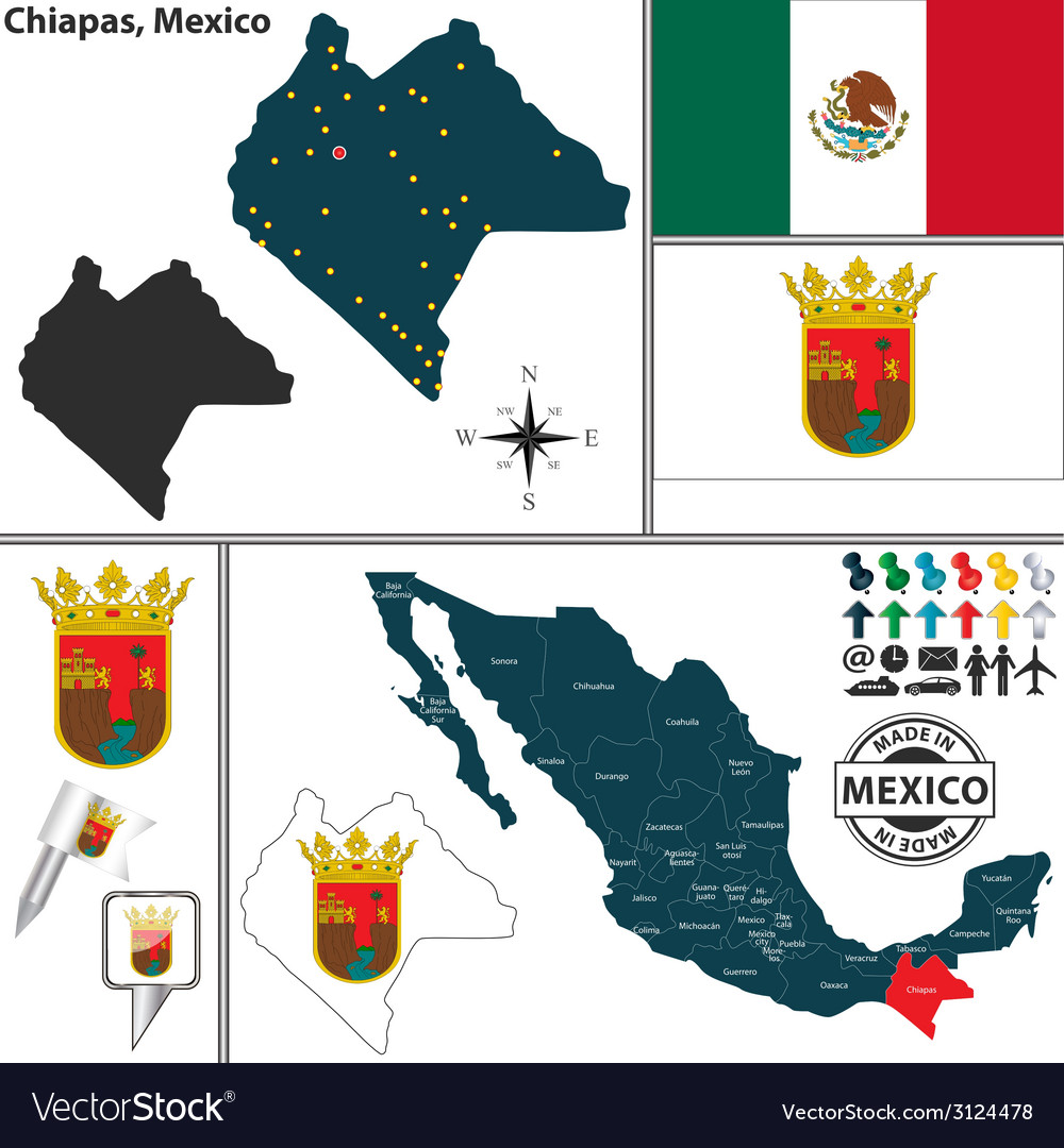Map of chiapas vector | Price: 1 Credit (USD $1)