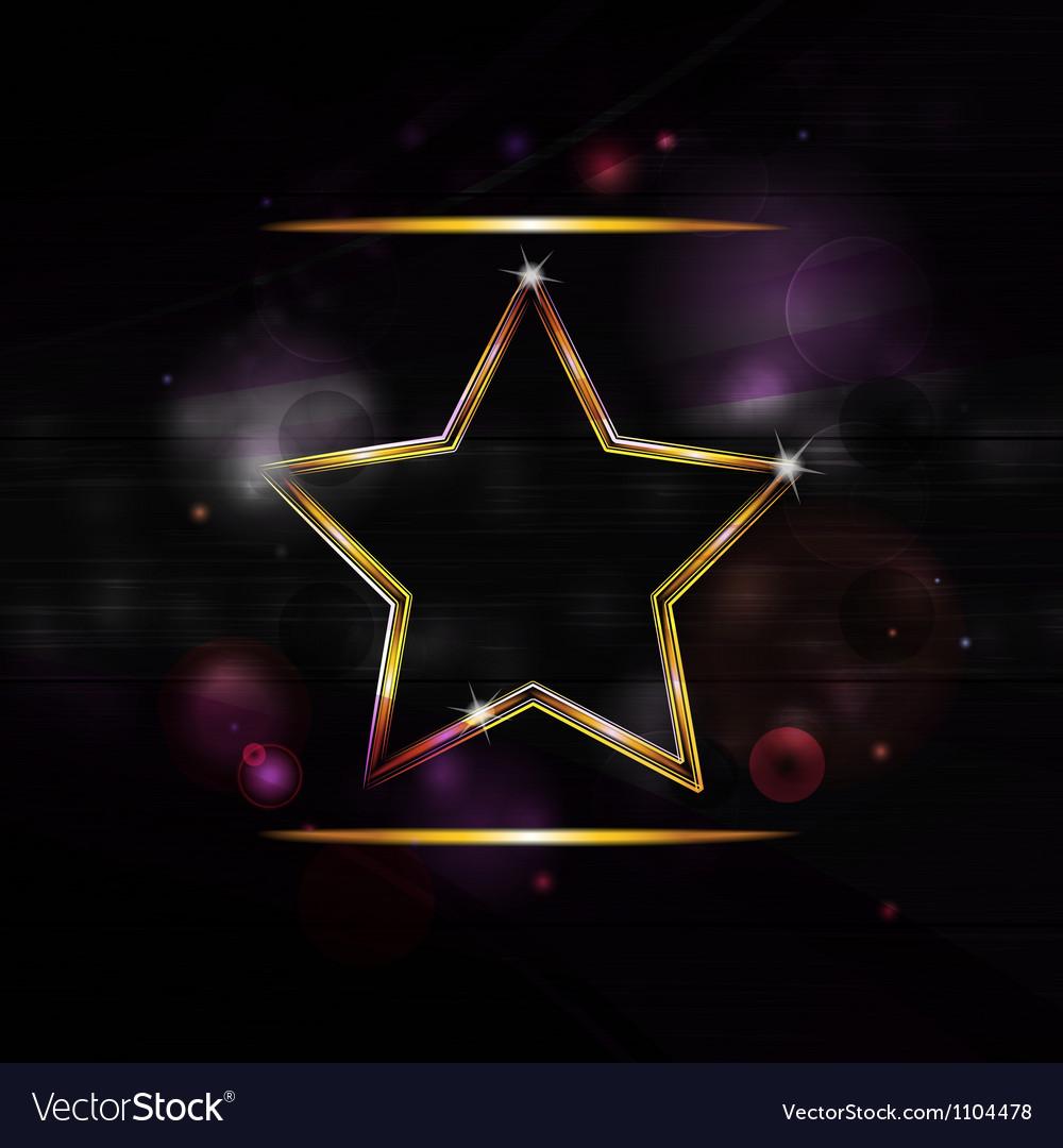 Neon gold star border background vector | Price: 1 Credit (USD $1)