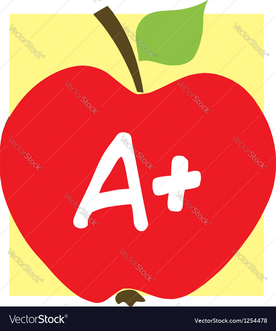 Red a plus school apple and background vector | Price: 1 Credit (USD $1)
