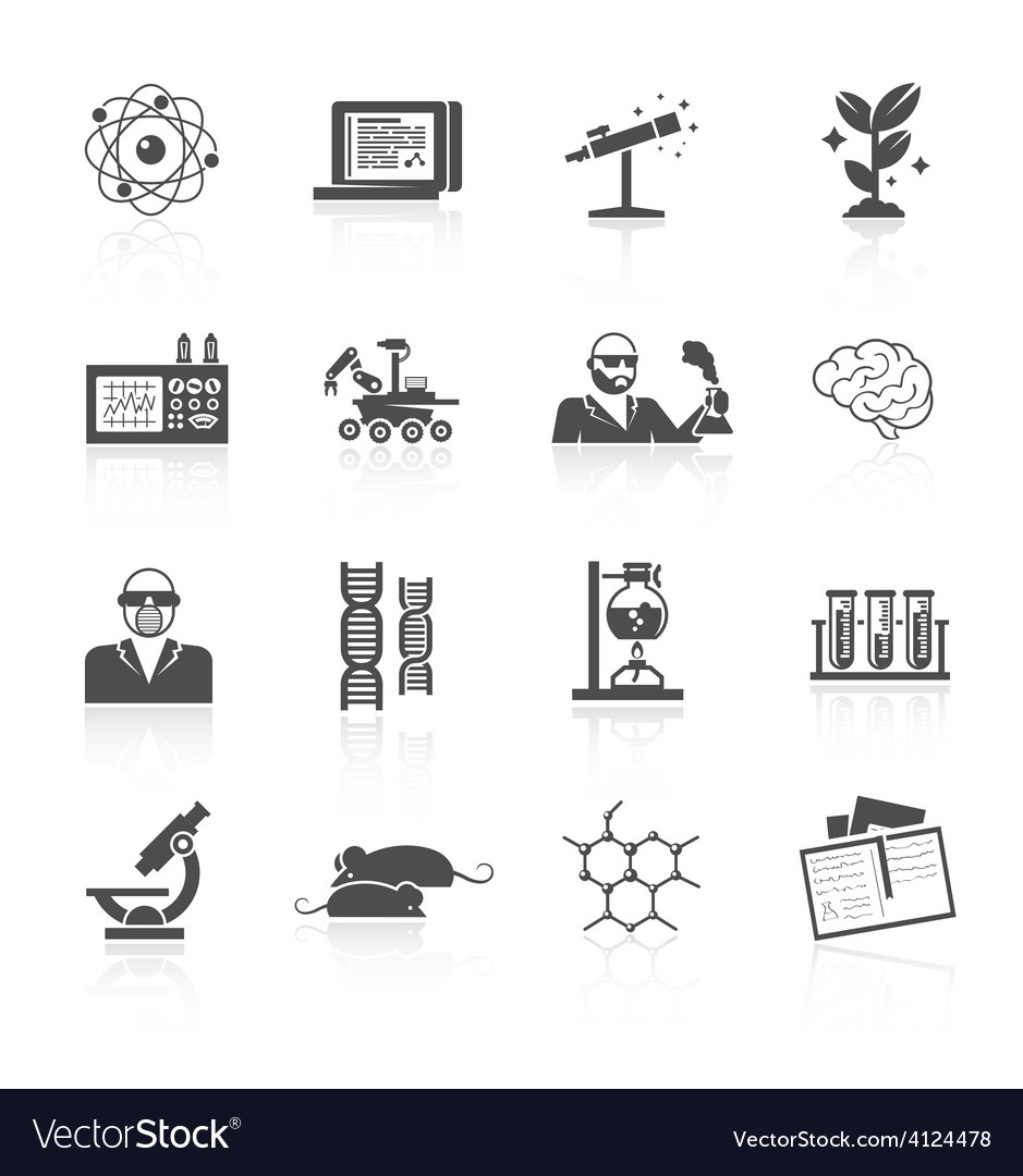 Science and research icon set vector | Price: 1 Credit (USD $1)