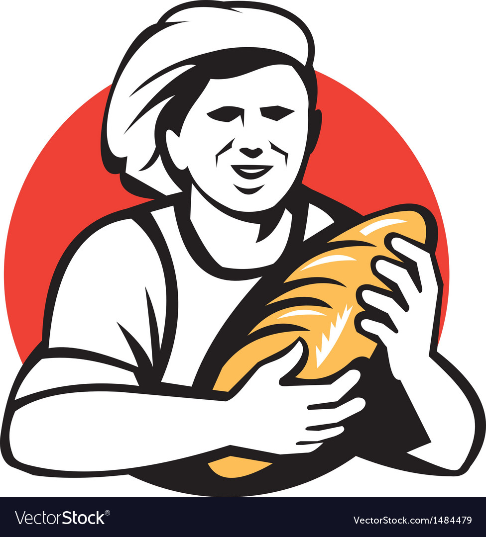 Baker holding bread loaf retro vector | Price: 1 Credit (USD $1)