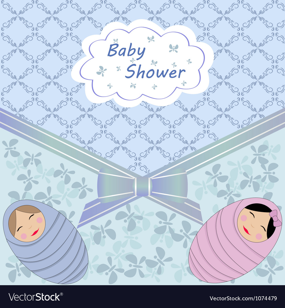 Blue baby shower with two child vector | Price: 1 Credit (USD $1)