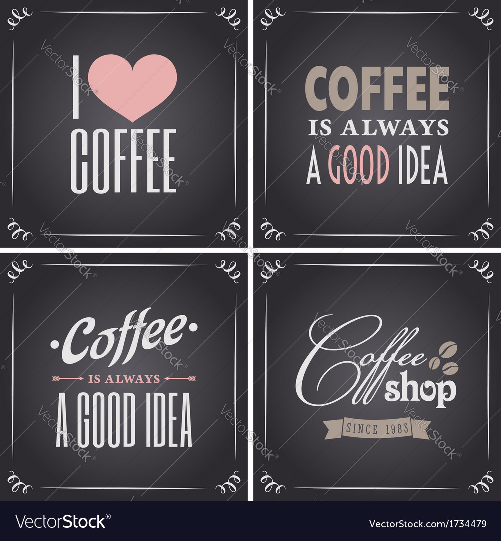 Chalkboard retro style coffee designs collection vector | Price: 1 Credit (USD $1)