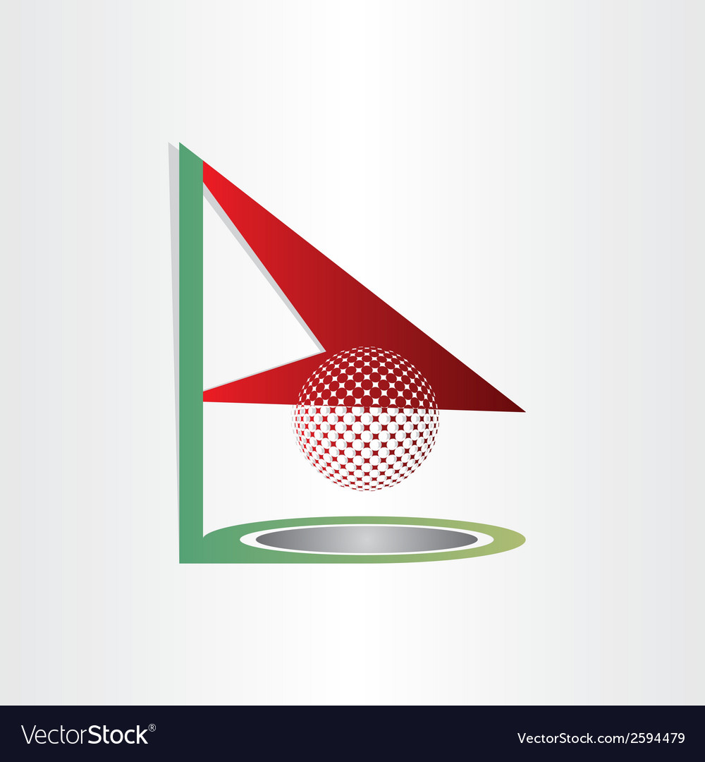 Golf flag and ball golf hole abstract design vector | Price: 1 Credit (USD $1)