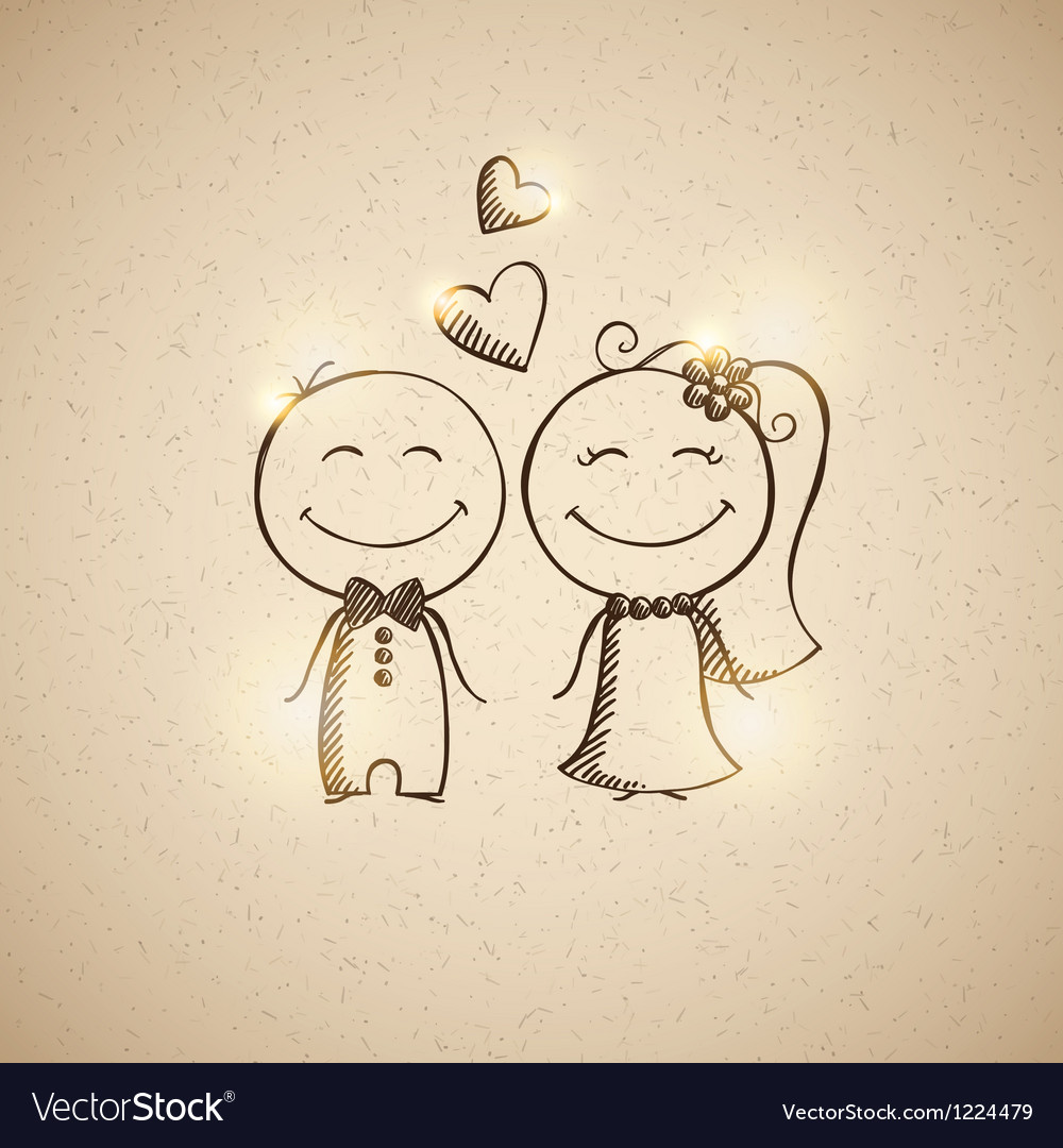 Hand drawn wedding couple vector | Price: 1 Credit (USD $1)