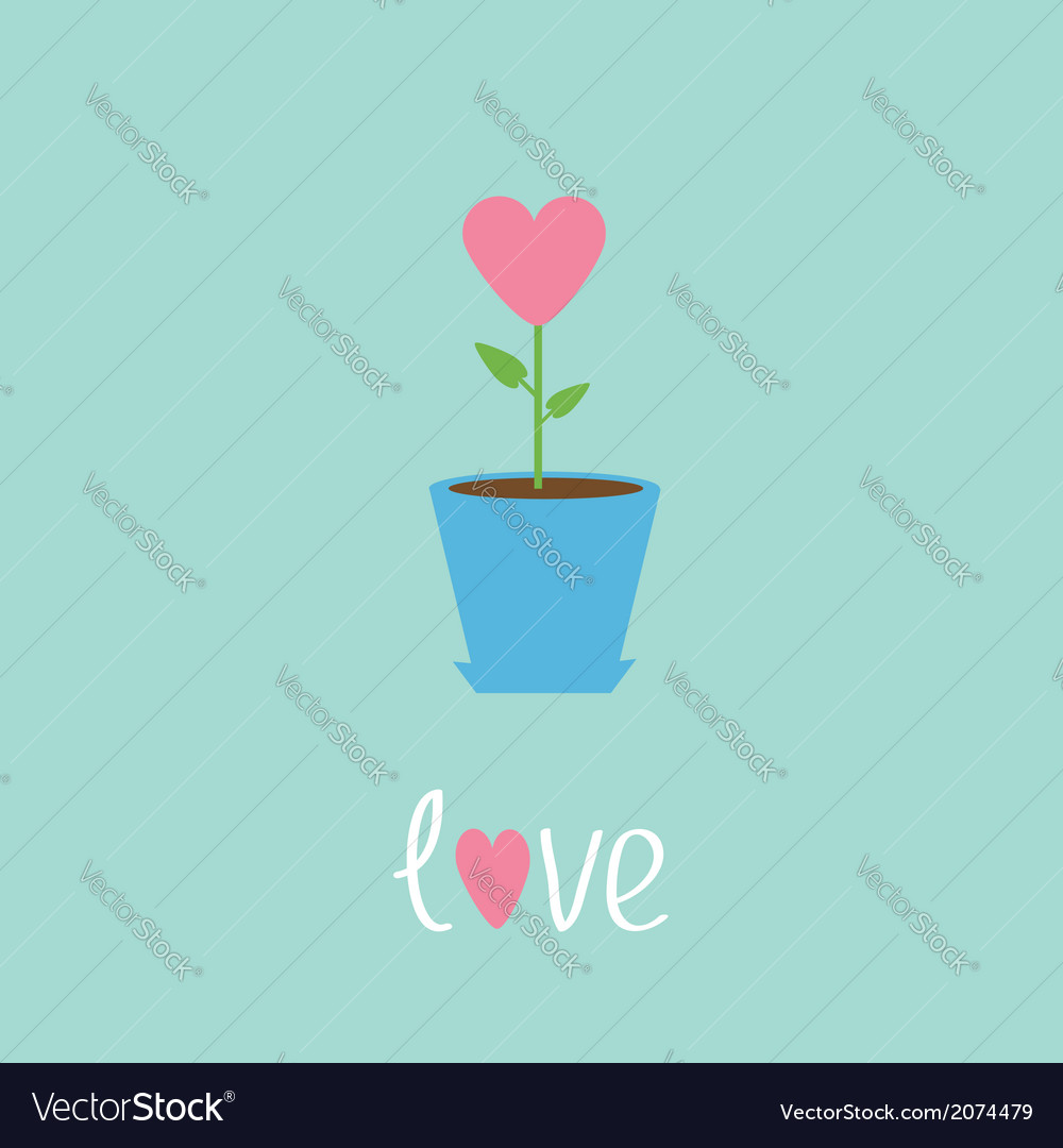 Heart flower in pot love card vector | Price: 1 Credit (USD $1)