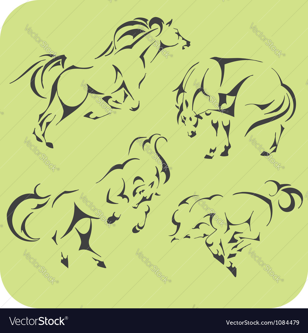 Light horses - set vinyl-ready vector | Price: 1 Credit (USD $1)