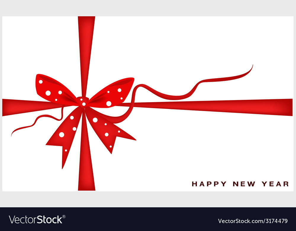 New year gift card with red ribbon vector | Price: 1 Credit (USD $1)