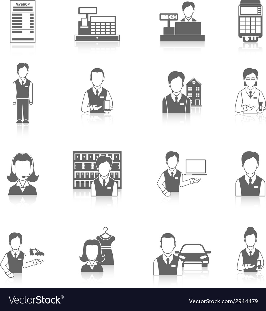 Set icons salesman black vector | Price: 1 Credit (USD $1)