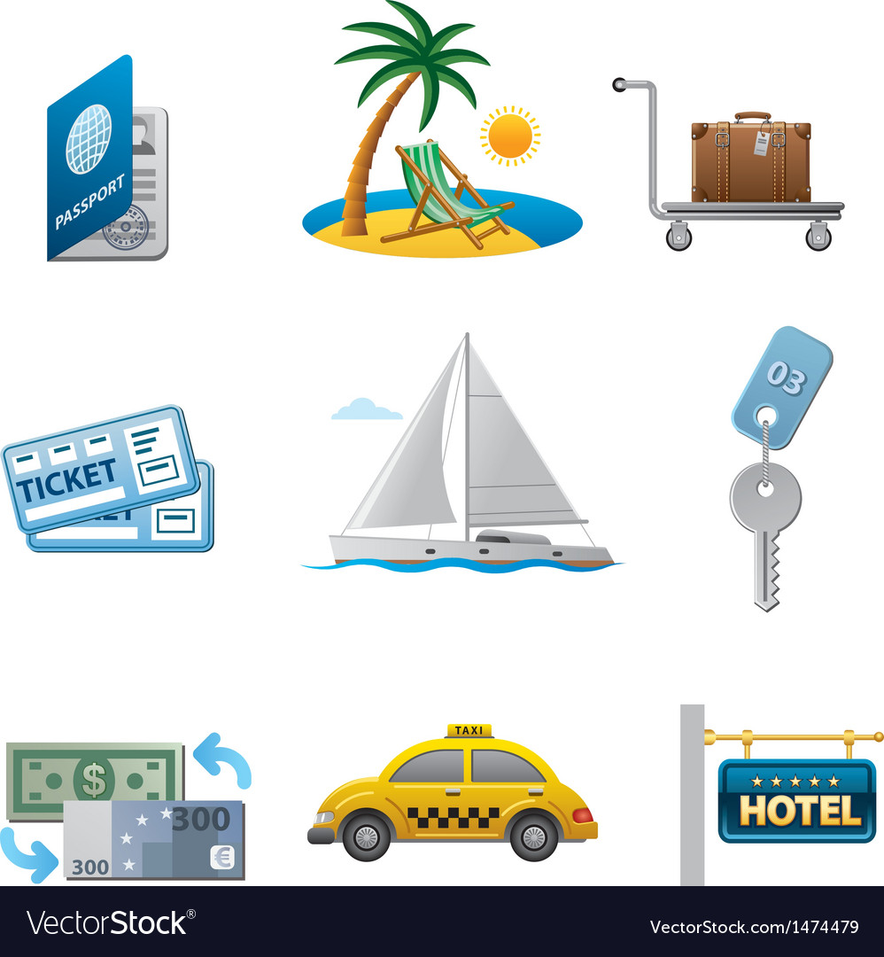 Tourism icon set vector | Price: 3 Credit (USD $3)
