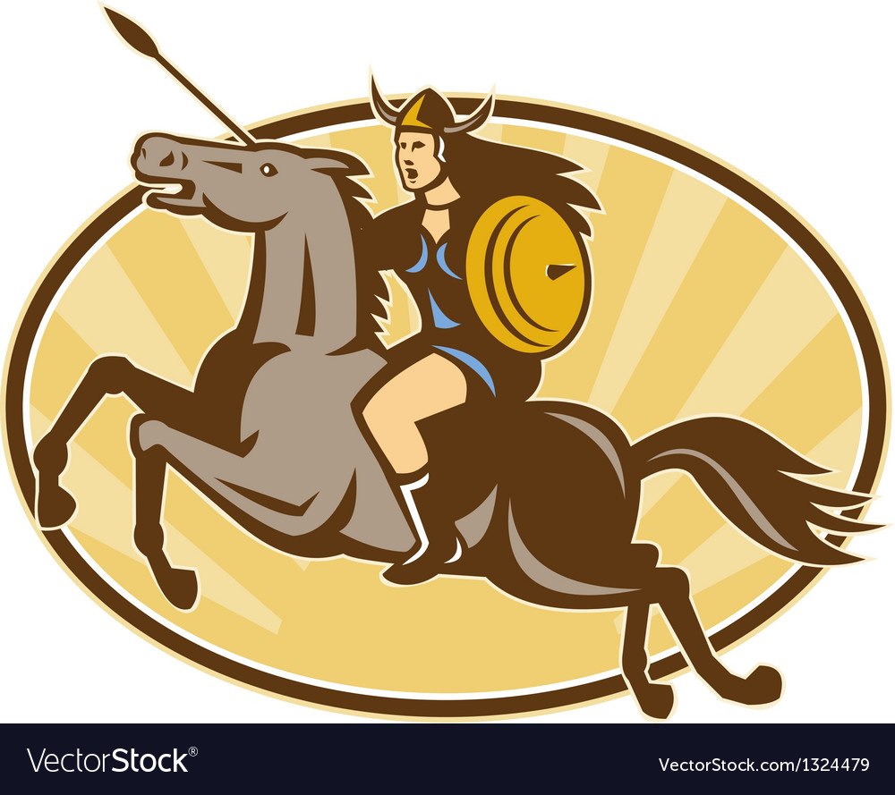 Valkyrie amazon warrior horse rider vector | Price: 1 Credit (USD $1)