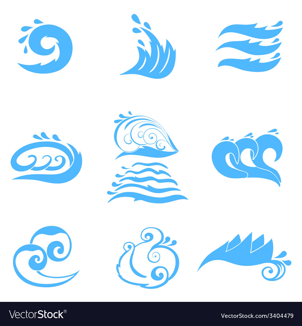Wave symbols set for design isolated on white vector | Price: 1 Credit (USD $1)