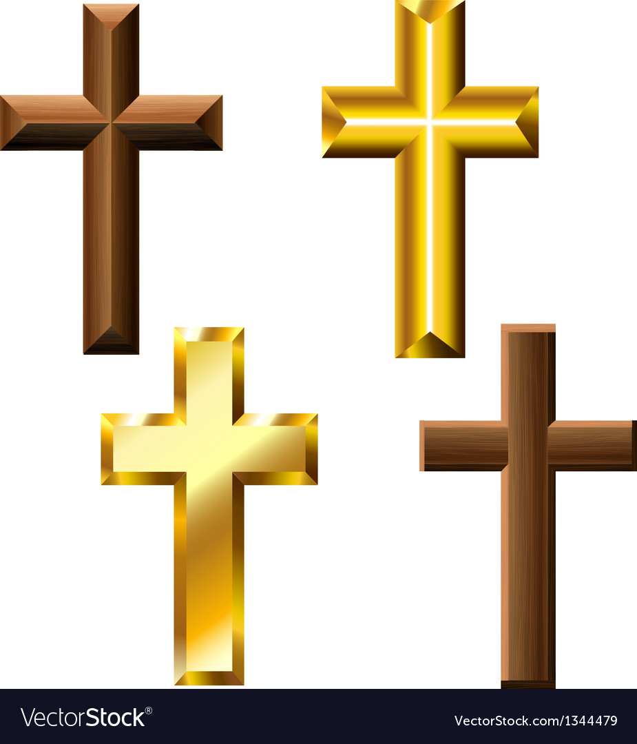 Wood and gold cross set vector | Price: 1 Credit (USD $1)