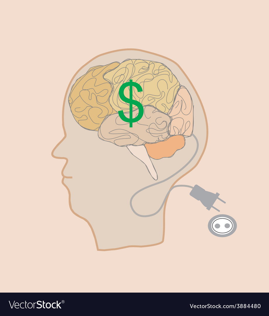 Brain with dollar sign vector | Price: 1 Credit (USD $1)