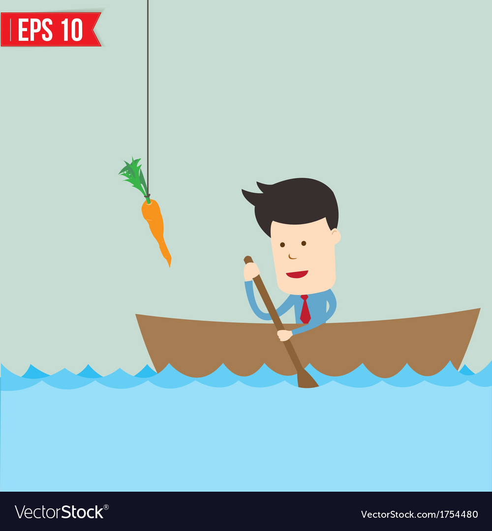Cartoon business man rowing a boat try to reach vector | Price: 1 Credit (USD $1)