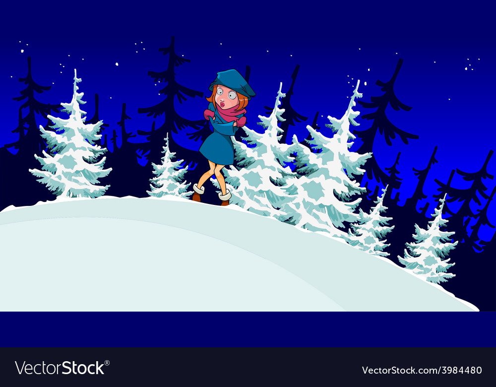 Cartoon girl froze in the winter forest vector | Price: 3 Credit (USD $3)