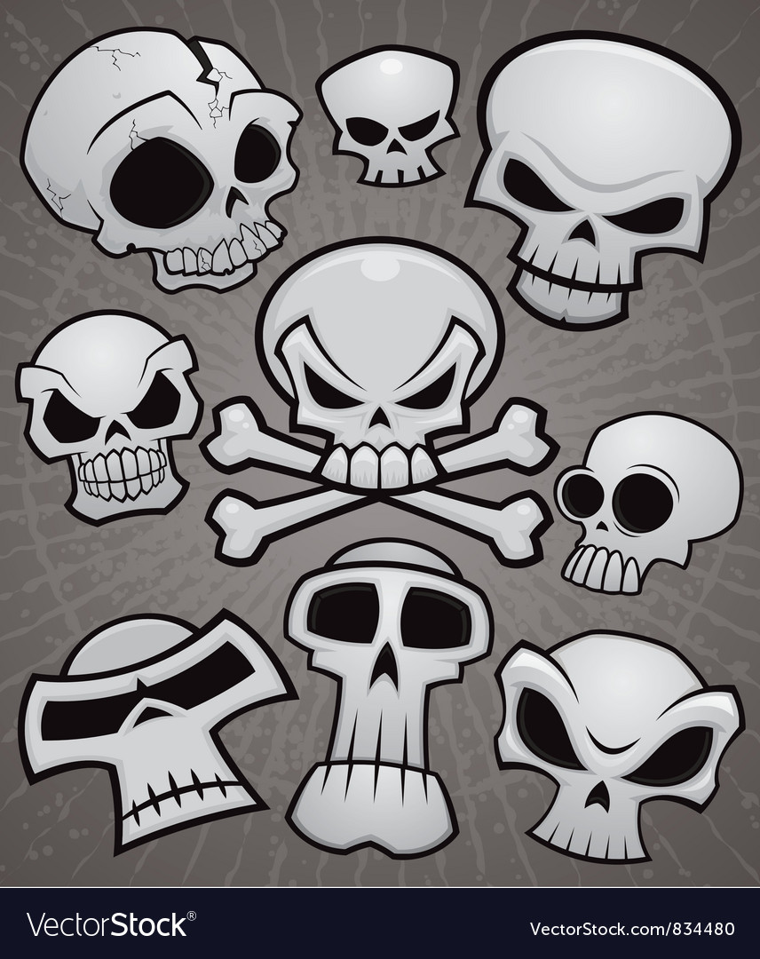 Cartoon skull collection vector | Price: 3 Credit (USD $3)