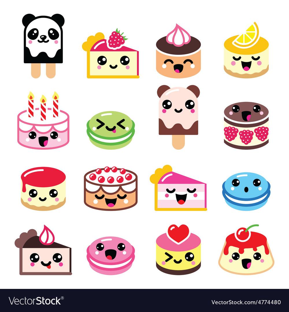 Cute kawaii dessert - cake macaroon ice-cream ic vector | Price: 1 Credit (USD $1)