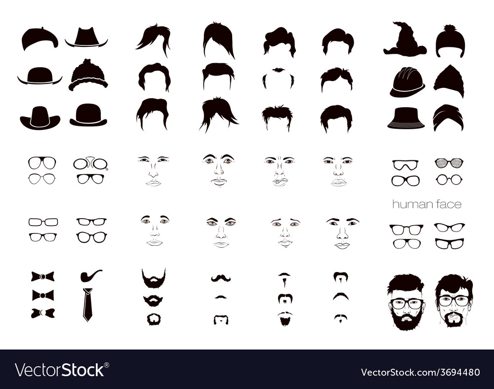 Elements of a person face men vector