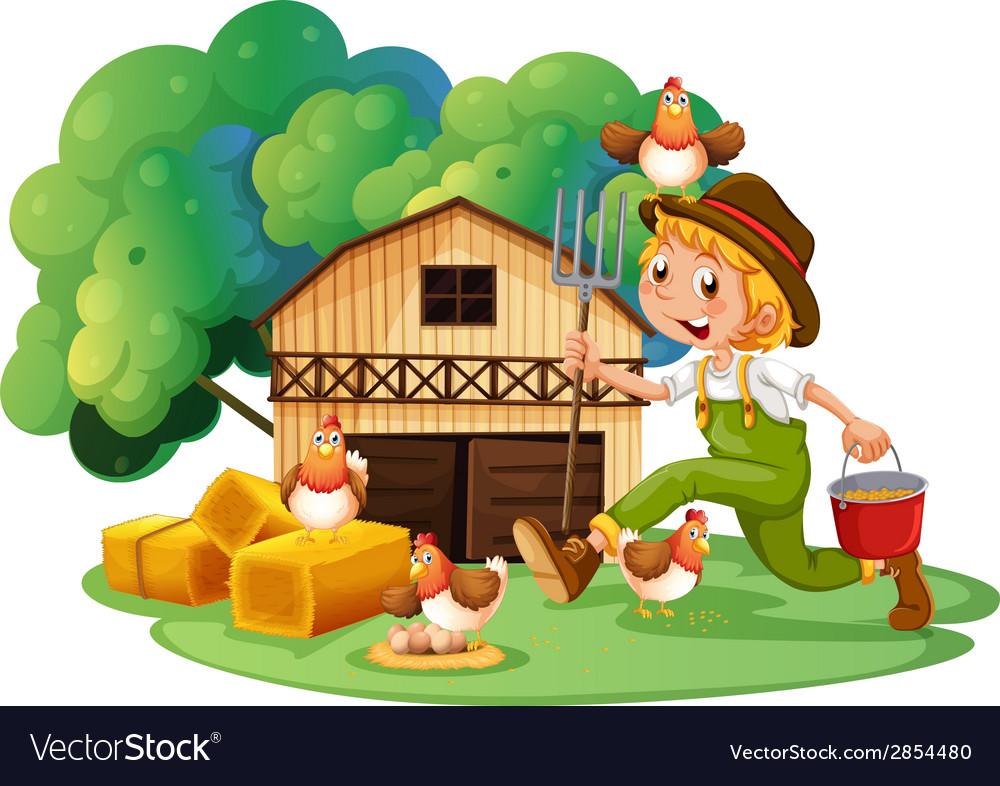Farmer and barn vector | Price: 3 Credit (USD $3)