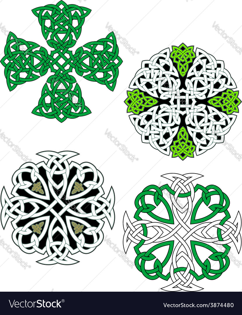 Green and white knotted celtic crosses vector | Price: 1 Credit (USD $1)