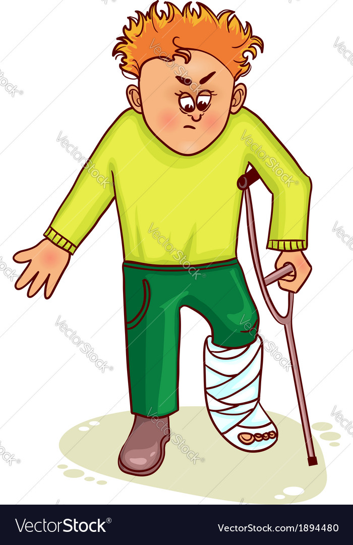Ill little man with broken leg vector | Price: 1 Credit (USD $1)