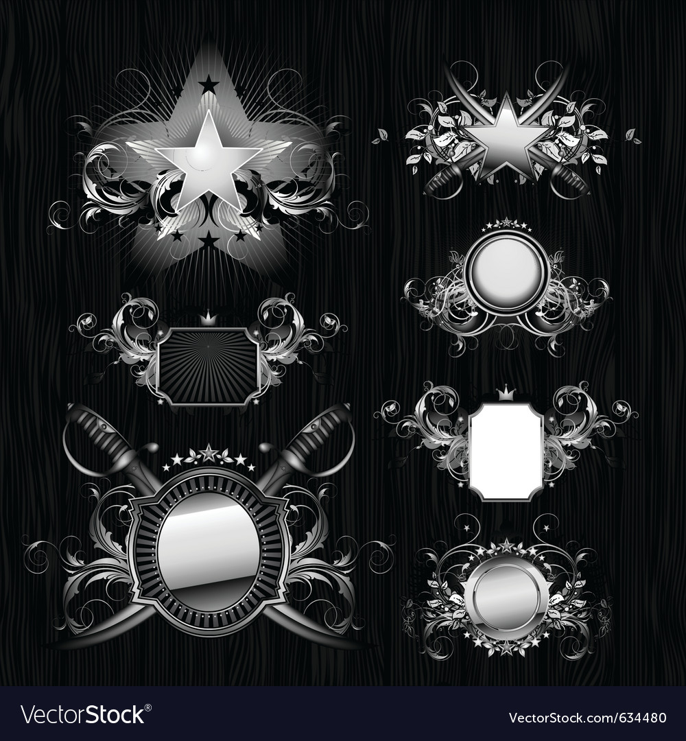 Medieval heraldry shields vector | Price: 3 Credit (USD $3)