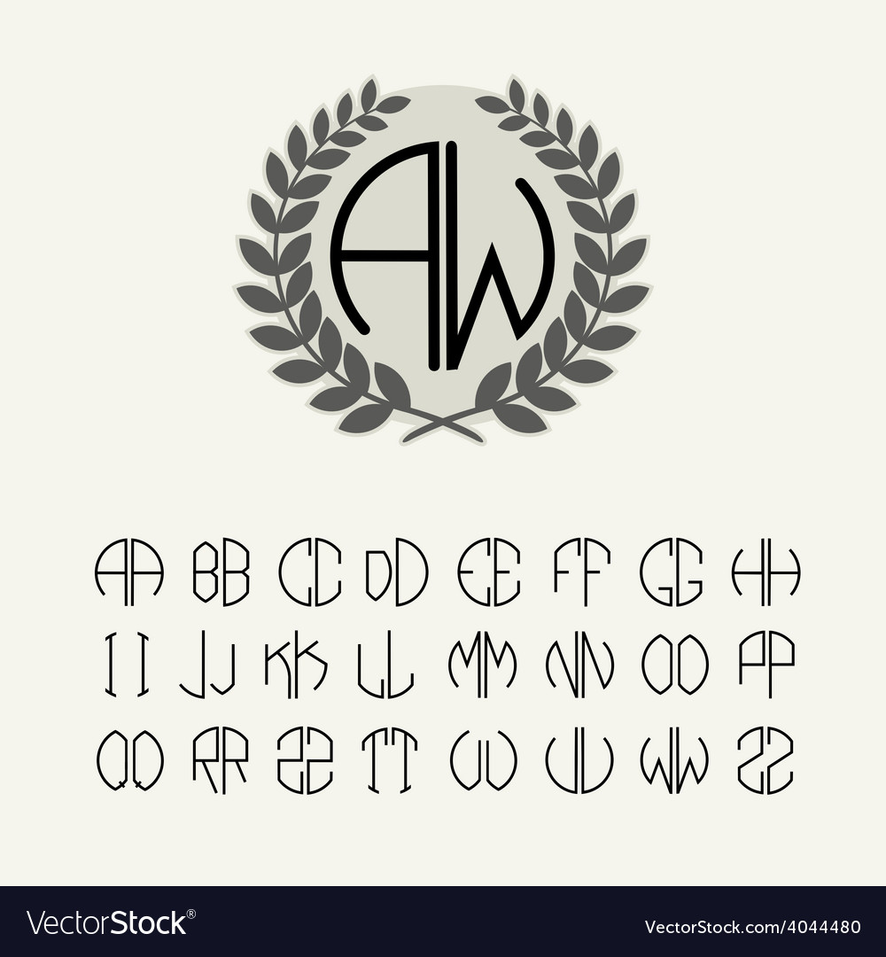 Set template letters to create monograms vector | Price: 1 Credit (USD $1)