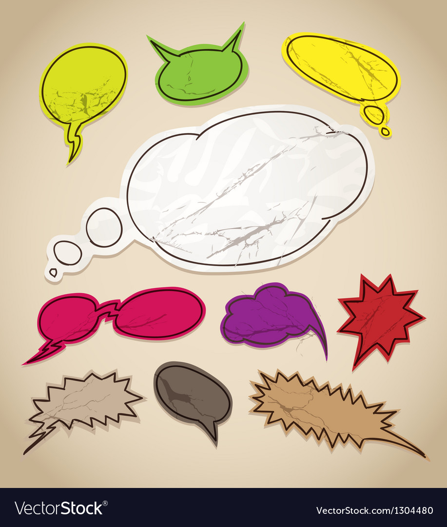 Vintage scratched speech bubbles clip-art vector | Price: 1 Credit (USD $1)
