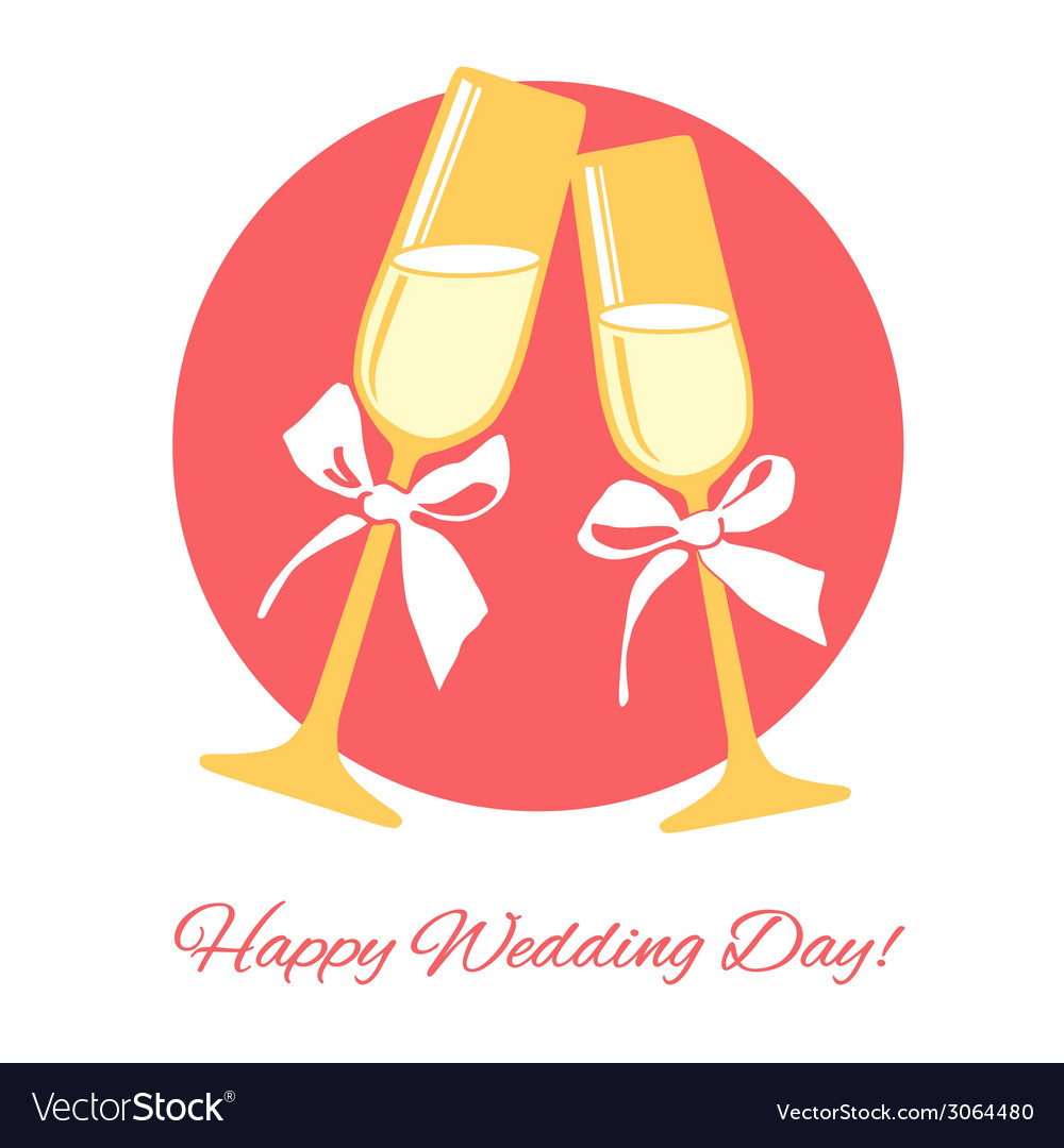 Wedding card glasses of champagne on the wedding vector | Price: 1 Credit (USD $1)
