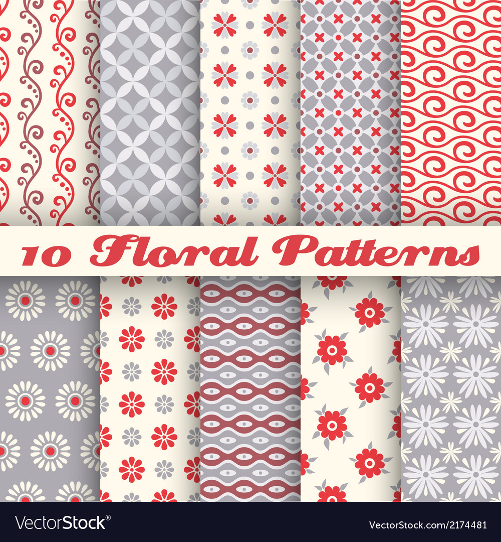 10 floral fashionable seamless patterns tiling vector | Price: 1 Credit (USD $1)