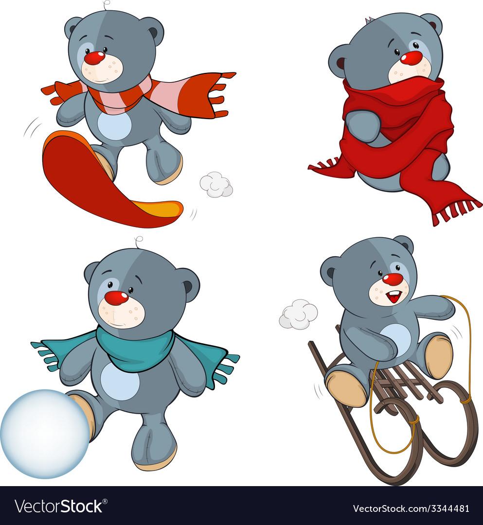A set of stuffed bear toys cartoon vector | Price: 1 Credit (USD $1)