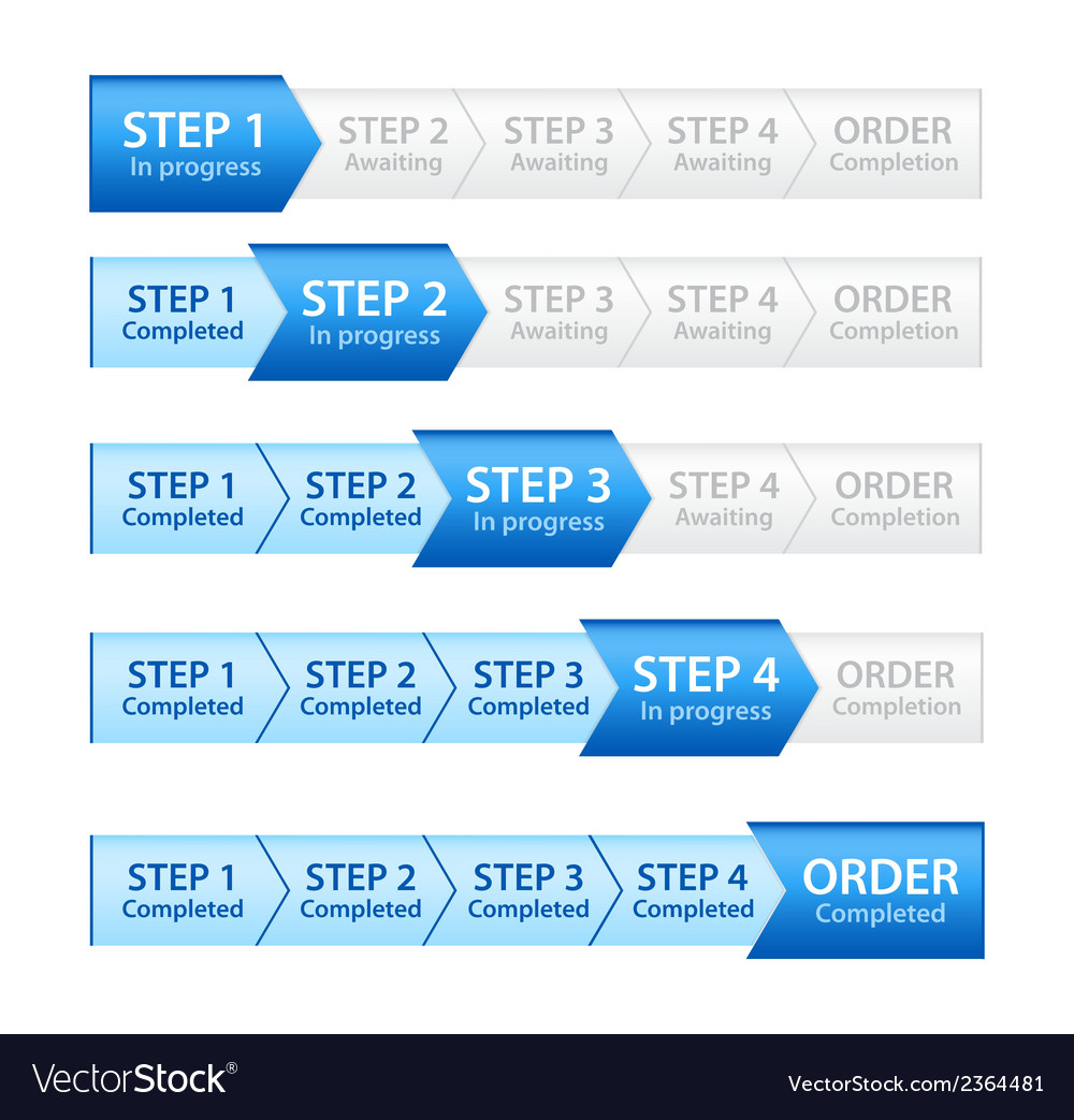 Blue progress bar for order process vector | Price: 1 Credit (USD $1)