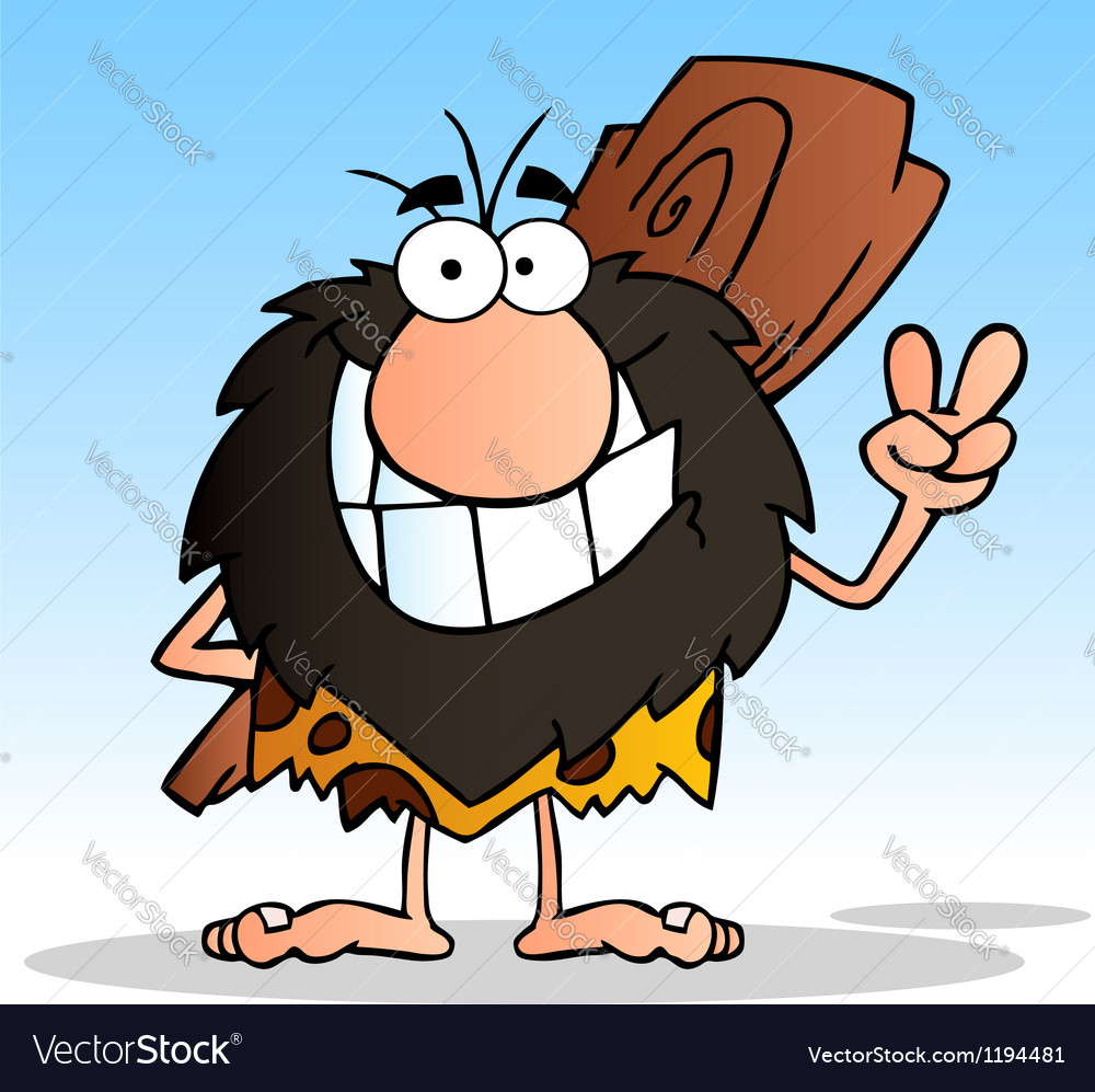 Caveman gesturing the peace sign with his hand vector | Price: 1 Credit (USD $1)
