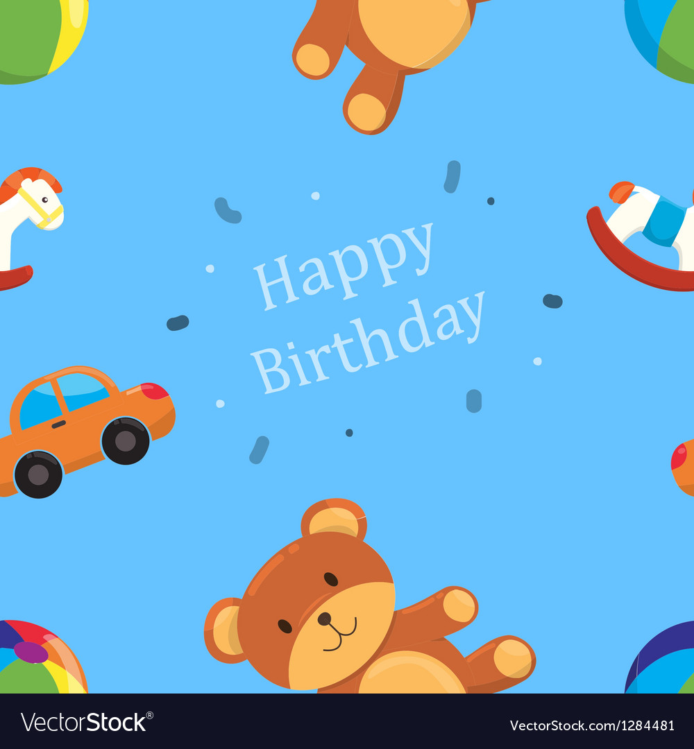 Children toys happy birthday pattern vector | Price: 1 Credit (USD $1)