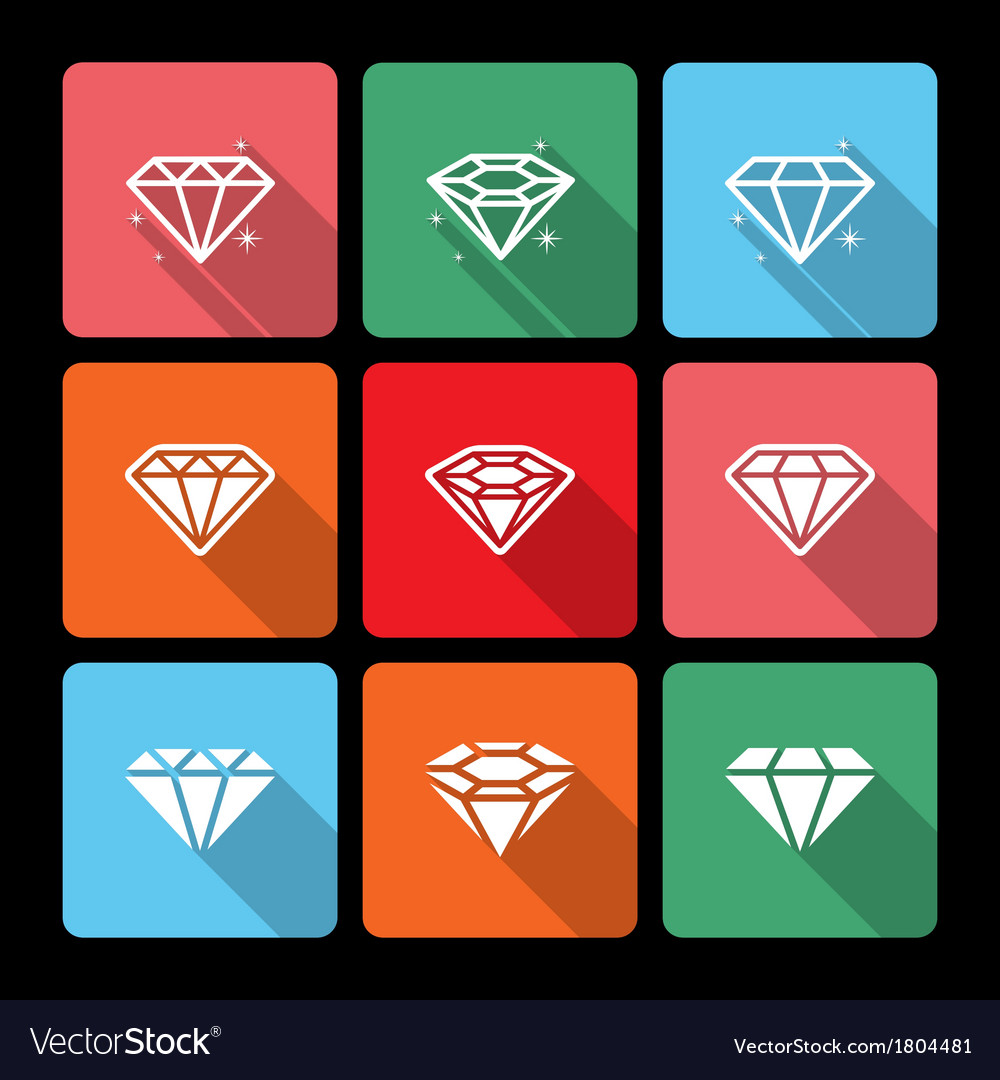 Diamond icons set with long shadow vector | Price: 1 Credit (USD $1)
