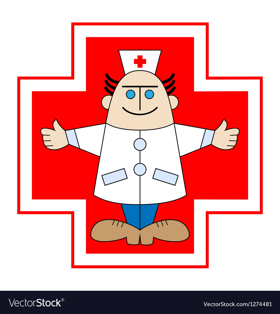 Doctor against red cross vector   Price: 1 Credit (USD $1)