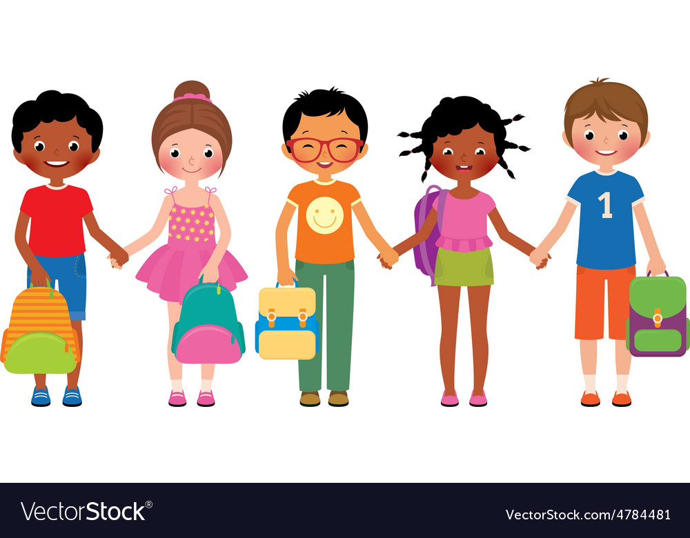 Group of children students with school bags vector
