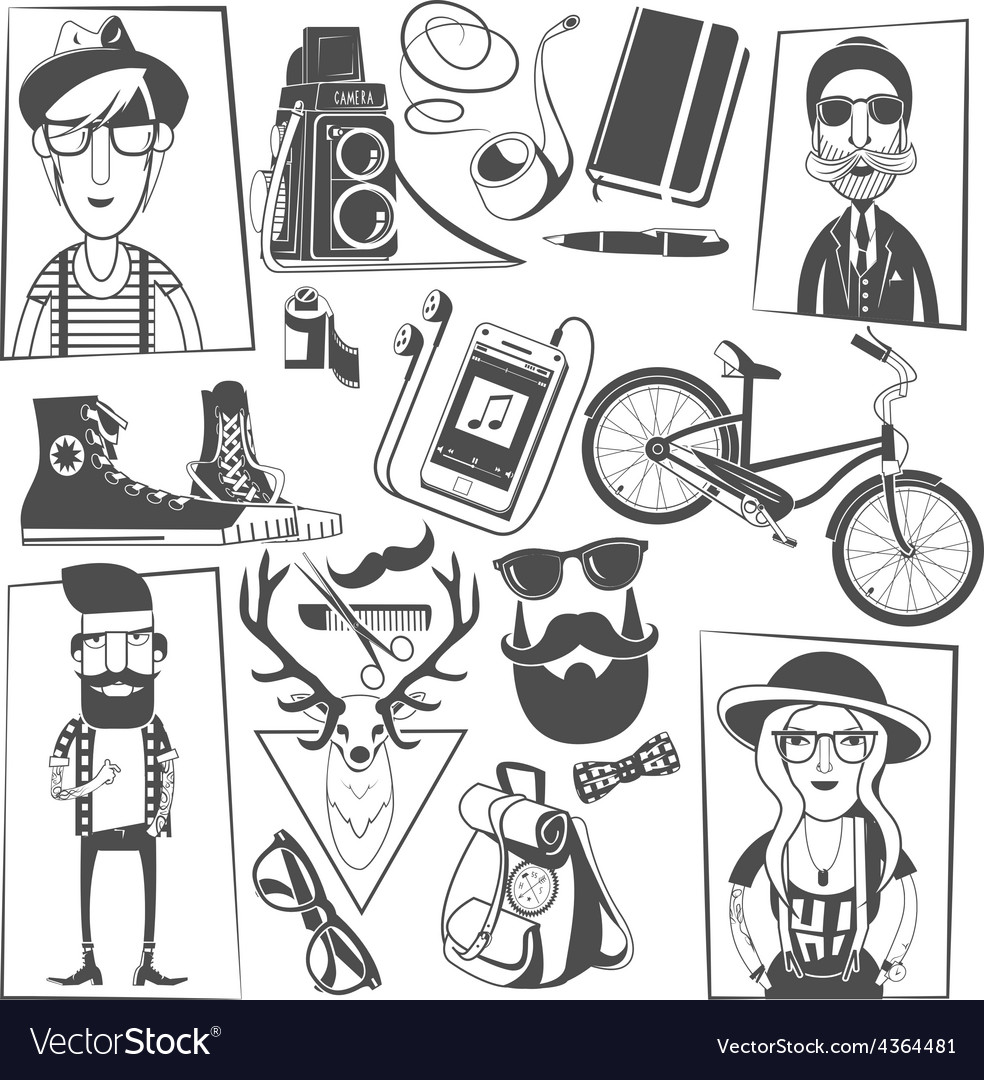 Hipster black icons composition print vector | Price: 1 Credit (USD $1)