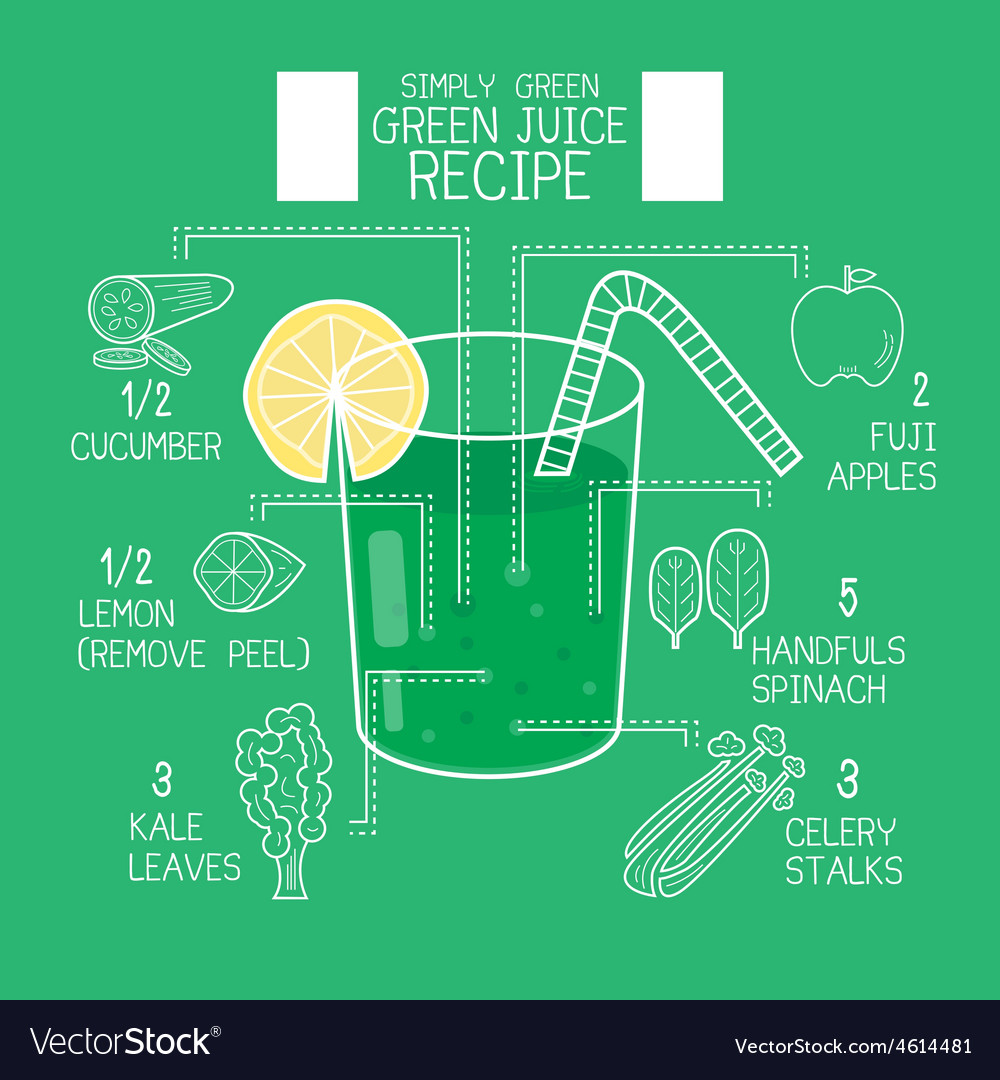 Simply green juice recipes great detoxifier vector | Price: 1 Credit (USD $1)